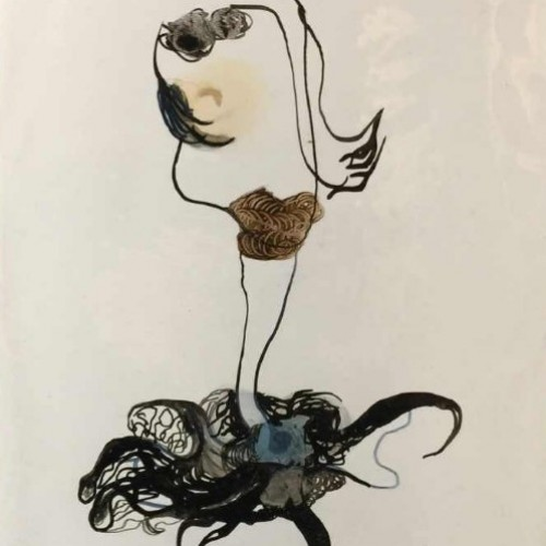 """Anne Body """" For Madam, it will be a jellyfish """" painting Oil on paper, signed and dated 1970"""
