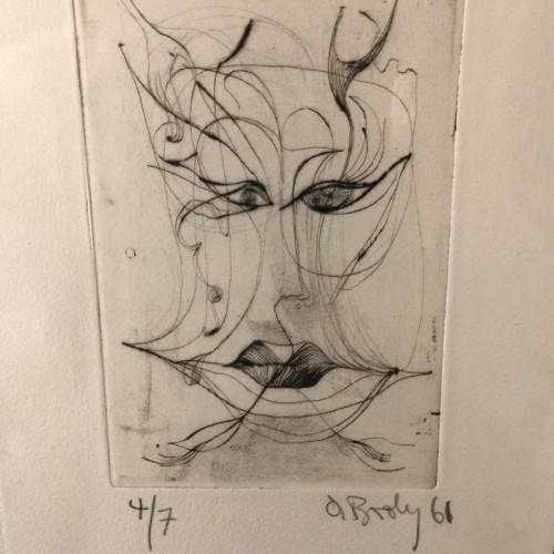 """Anne Body """" Jézabel """" gravure abstrait surréaliste numérotée 4/7, signée et datée 1961"""