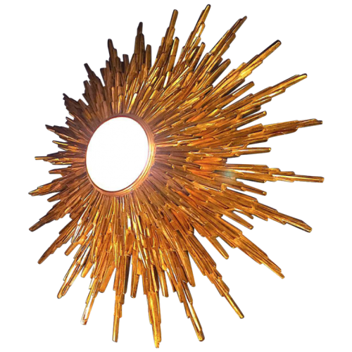 Large wall light sunburst / mirror witch, gilded resin, 2 levels, Belgium 1960