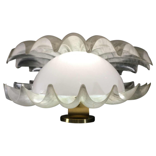 Liane Rougier, Rare Large Shell Lamp in Mother of Pearl Methacrylate, Hollywood Regency Style, 1970