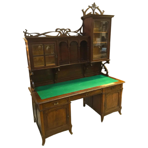 Belgian Art Nouveau desk in mahogany (Secretary Library) Paul Hankar style, circa 1900