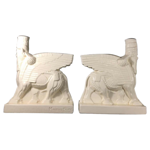 "Maurice Faure, "" Shedu "" Pair Art Deco bookends, crackled, ceramic ""Faïencerie de Onnaing"", circa 1930"