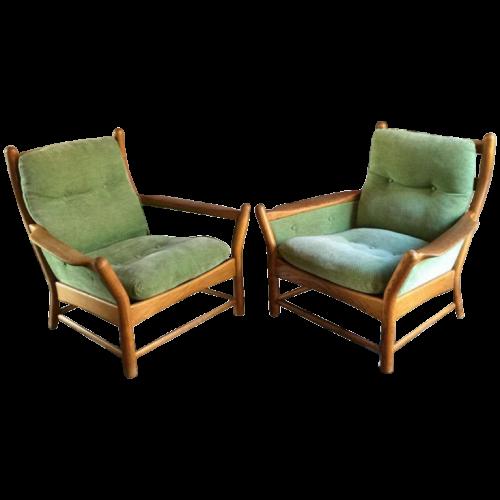 Pair of Scandinavian armchairs, Arne Norell Sweden style, circa 1970