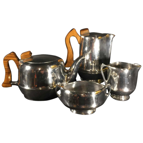 Picquot Ware, Design England Coffee & Tea Set / Service, brushed aluminum, circa 1950