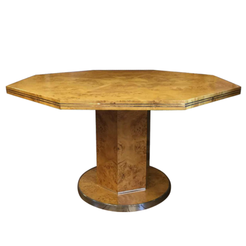 Willy Rizzo for Mario Sabot, Walnut Pedestal Table, Hollywood Regency, 1970