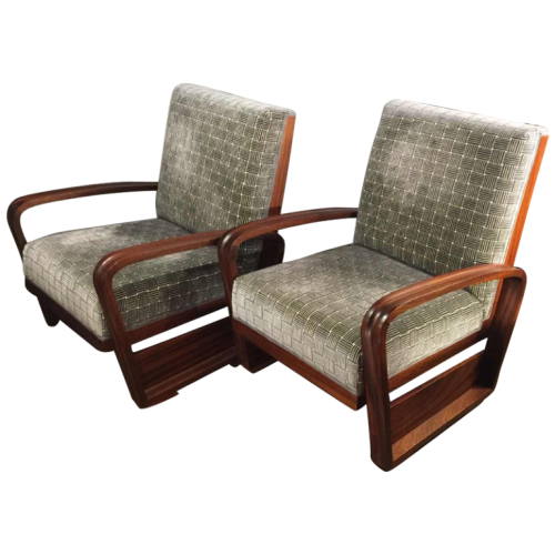 "Rare Pair of ""Aviator"" Mahogany Armchairs, Design Art Deco, 1930/40"