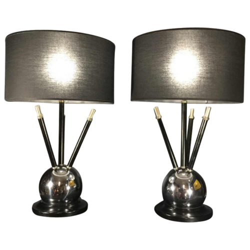 "Pair of Art Deco "" Sputnik Ball "" Table Lamp, Jacques Adnet style, circa 1930/40"
