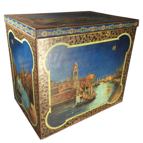 BEKKERS & ZOON Holland, Large Biscuit / Coffee Tin Box, Venetian decor, ca. 1900