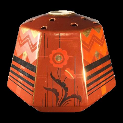 SAINT GHISLAIN earthware pottery vase, Art Deco constructivist geometric modernist, 1935