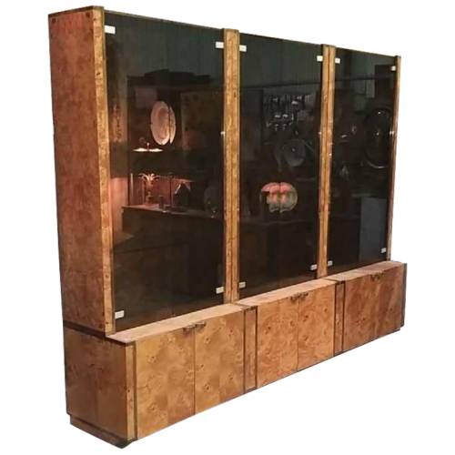 WILLY RIZZO for MARIO SABOT, Set of 3 Large Showcases / Shelves / Bookcases, Burl Walnut and Brass, circa 1970