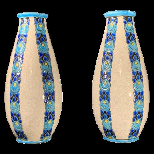 CHARLES CATTEAU pour Boch Frères KERAMIS D704 / 805, pair of Art Deco cracked / cloisonne earthenware vases, circa 1935