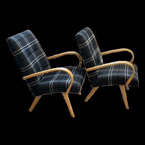 "Jaroslav Smidek for THONET ""Model 53"", Refurbished Pair of Armchairs ""EXPO 58"", 1950/60"