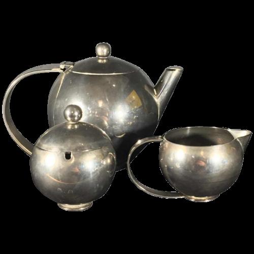 MODERNIST Silver Metal Tea / Coffee Service Set, Alpaca Mailleshort, Design Art Deco, circa 1940
