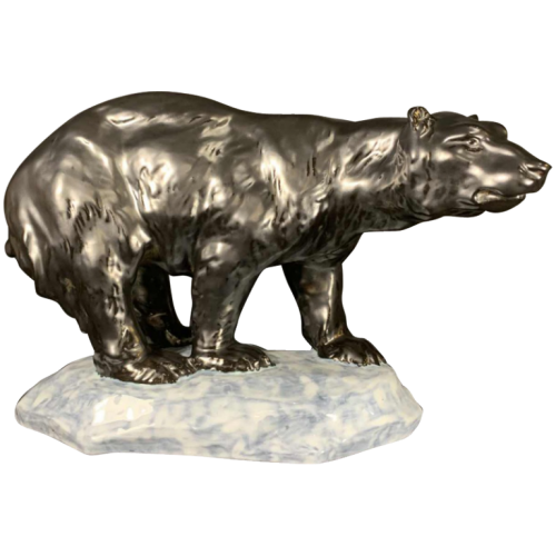 "ANTOON AMORGASTI for CERABELGA "" Polar Bear "" Black Ceramic Art Deco Sculpture, circa 1930"