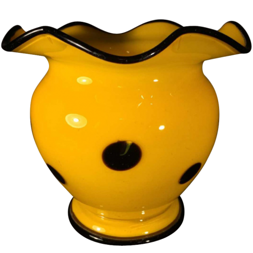 "LOETZ, Bohemian ""TANGO"" vase in black yellow blown glass, Michael Powolny Style, circa 1930"