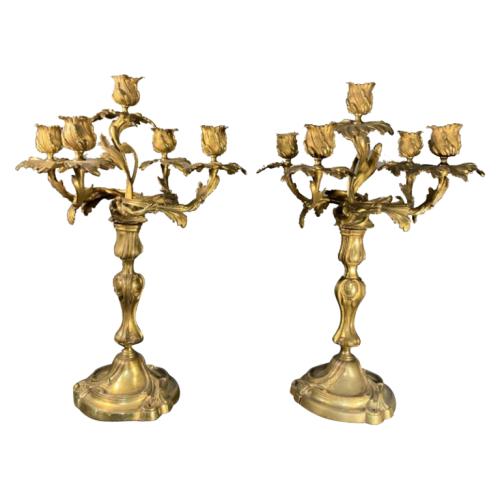 Pair of Candelabra / Candlesticks in gilded bronze, Louis XVI Rocaille Twisted Torsade, circa 1920