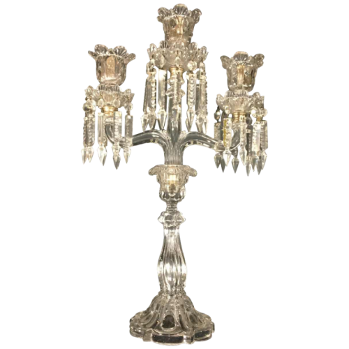 Candelabra Baccarat crystal with 3 sconces, 20th century