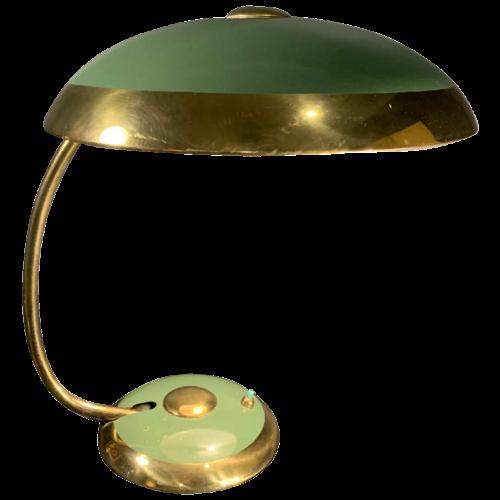 HELO LEUCHTEN, Golden and Lacquered Brass Art Deco Desk / Table Lamp / BAUHAUS, 1940