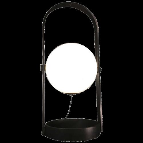 """Table lamp / Floor lamp """" Sphere """" in black bent Scandinavian wood, ca 1970"""