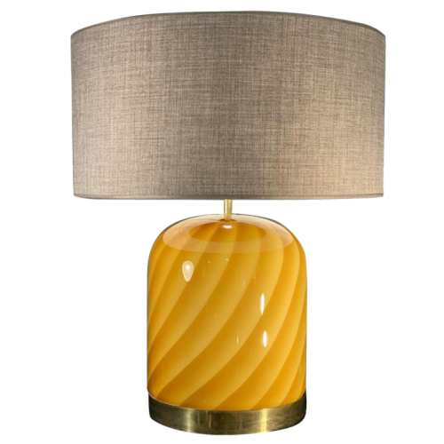 TOMMASO BARBI for MURANO, Glass and BrassTable Lamp, circa 1970