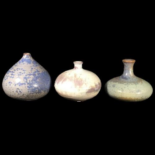 ANTONIO LAMPECCO, Serie of 3 small ceramic vases, circa 1970