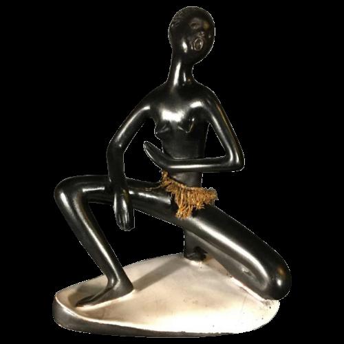 ANZENGRUBER LEOPOLD KERAMIK, African Watusi Nude Woman. Austrian Ceramic Earthenware Sculpture, ca 1950