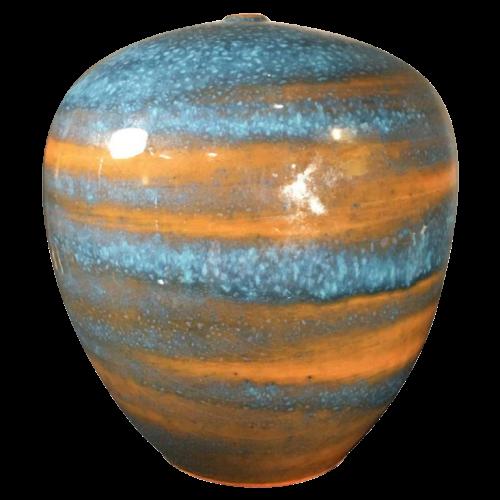 """ANTONIO LAMPECCO, turquoise ceramic """"ball"""" vase, circa 1980"""