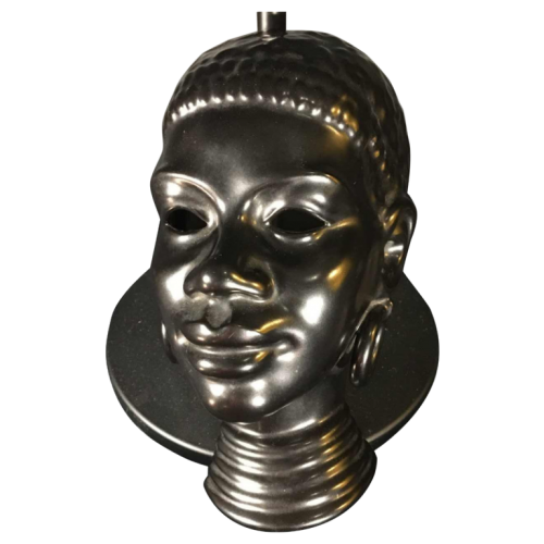 VILLEROY & BOCH LUXEMBOURG, Woman African ceramic mask sculpture, 1940s