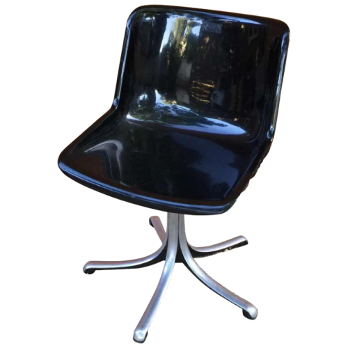 "OSVALDO BORSANI for TECNO ""Modus Office"" Black Swivel Office Chair, Cast Aluminium & acrylic, 1979"