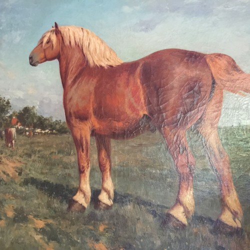 GEO BERNIER, Large Animal Painting, Oil on Canvas of a Draft Horse, ca 1900