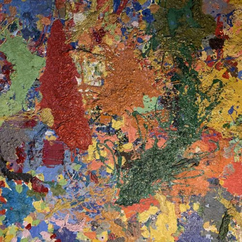 CECILE MIGUEL ' Composition N°4 ' Painting Oil on panel, TACHIST ABSTRACT, 1957