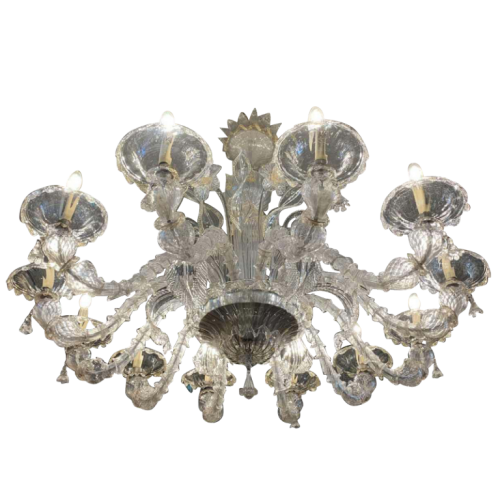 Venetian Exceptional Murano Rezzonico 12 Arm Chandelier (width 51 inch), Gold tinted glass, circa 1930