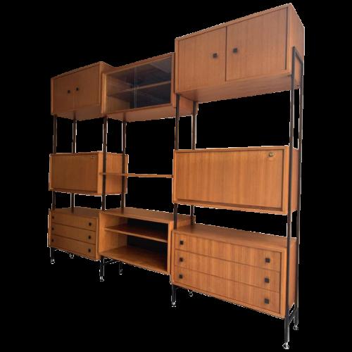MDK Teak Wall Unit, Large Vintage Modular Shelf, Scandinavian Type 1960s