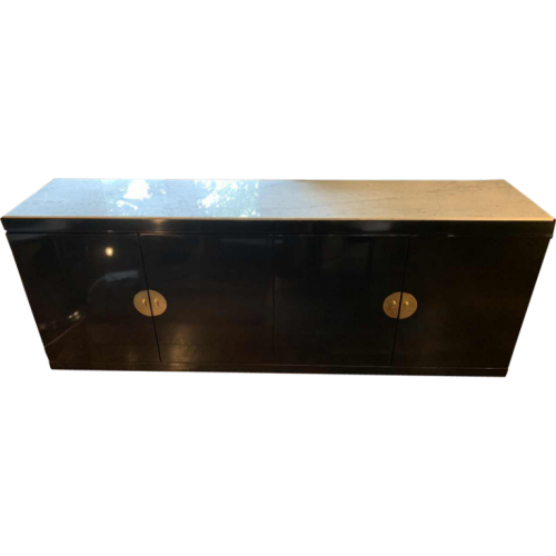 GUY LEFEVRE for MAISON JANSEN, Chinese Modern Credenza, Black Lacquered, Brass Chinoiseries, Top Marble, 1970s