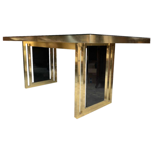 Romeo Rega atributed, Italian Brass Black Dining Table, Design Hollywood Regency, 1970s