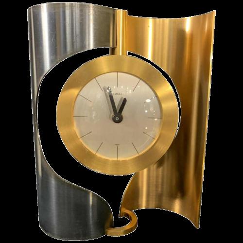 LANCEL, Clock / Pendulum, gilded and anodized brass, 1970s