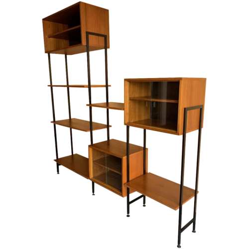 MDK Teak Wall Unit, Vintage Modular Shelf, Scandinavian Design Style, 1960s