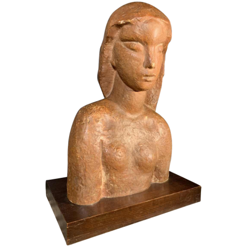 "HARRY ELSTROM, Art Deco Expressionist Sculpture ""Naked Woman Bust"", unique piece 1940"