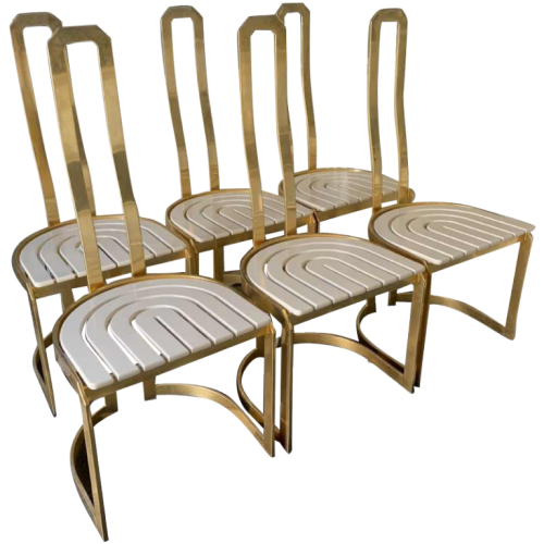 "KELLY WEARSTLER "" Elliott ""(style), Vintage Set of 6 High Back Dining Brass Chairs 1970s"