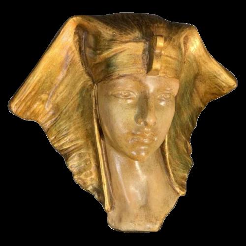 "G. CARLI "" Cleopatra "", Art Deco Woman Polychrome Terracotta Sculpture, 1930s"