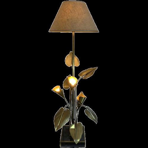 MAISON JANSEN, Large Palm Golden Brass Table lamp / Floor lamp (160cm), Arum Flowers 1970s