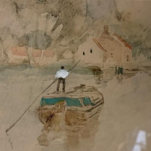 "HENRI STACQUET "" Holland Landscape "" Painting, Marine, Watercolor, ca 1880"
