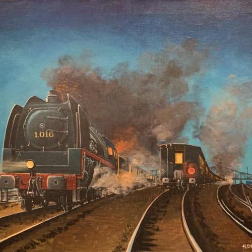 "HENRI DETHIER "" Train / Type 1 SNCB Locomotive "" Belgian Railway, Oil on canvas, 1970s"