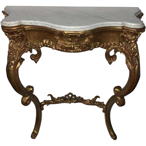 Italian Napoleon III console in carved gilded wood, Carrara marble tablet, 1930s