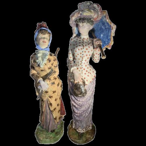 Cacciapuoti Fratelli, 2 impressionist earthware elegant women sculptures, 1881