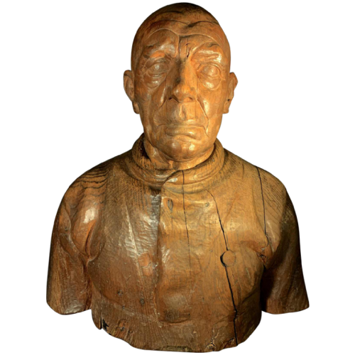 FRANS CLAESSENS ' Bust of a Man ' Life-size sculpture, carved wood 1930s