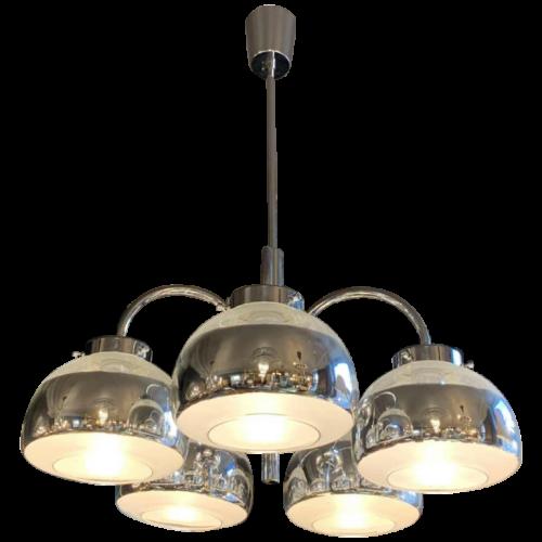 GAETANO SCIOLARI, Chromed metal chandelier and original mercury bobeches, 1960s