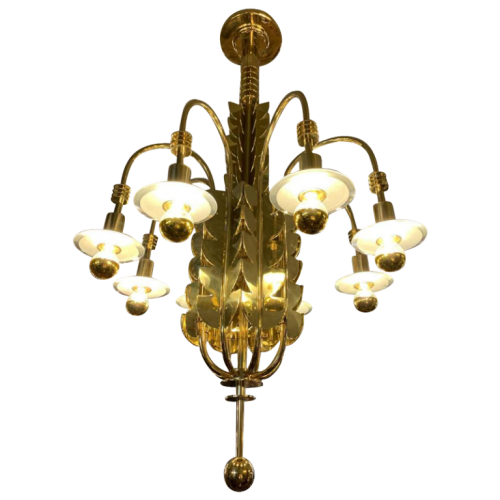 GIO PONTI for EMILIO LANCIA / FONTANA ARTE (Attributed), Exceptional Art Deco Brass Glass Chandelier, 1930s