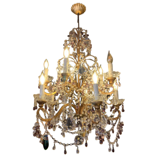 Italian beaded gold metal cage chandelier, tassels, glass garlands, fruit grapes, 1950s