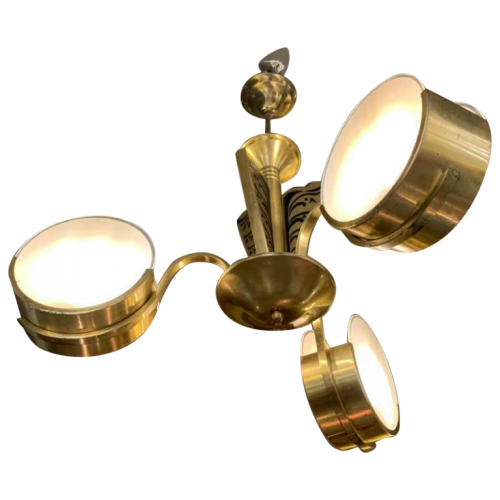 Small Modernist Art Deco gilded brass chandelier, frosted glass discs, 1940s